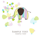 Fototapety Elephant - card with copy space