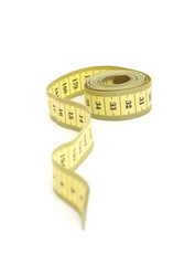 Yellow measurer tape isolated on a white background