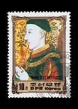 North Korean mail stamp featuring British monarch Henry V. poster