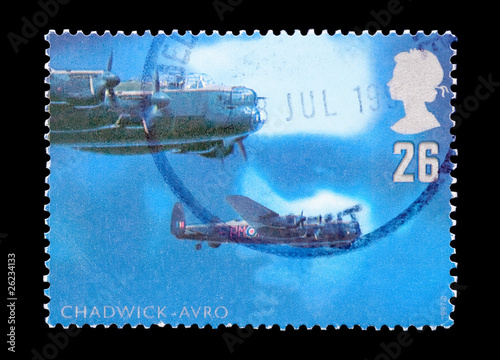 UK mail stamp featuring RAF Avro night bombers