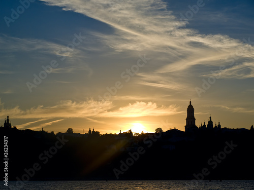 Fantastic sunsen in a city, Kiev Ukraine