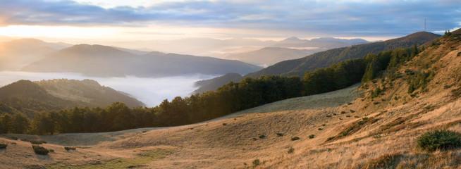 Autumn morning mountain view