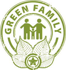 Grunge rubber stamp with the word Green Family inside