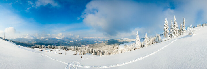 Winter mountain panorama landscape.