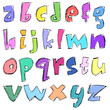 Colorful sketchy small letters