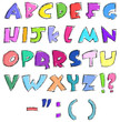 Colorful sketchy letters