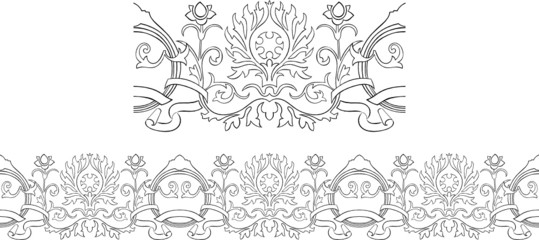 Stylized Victorian style repeating border outline with ribbon
