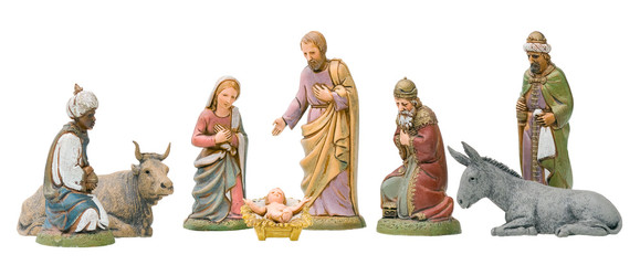 Full set of Nativity figurines, Isolated.