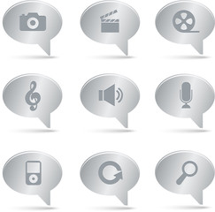 03 Silver Bubbles Multimedia Icons