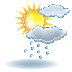 Sun rain cloud icon vector