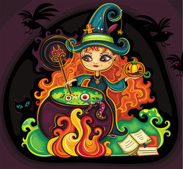 young funny witch  cooking something poisonous