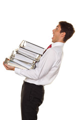 Manager im Stress mit Akten Stapel. Bürokratie in Verwaltun