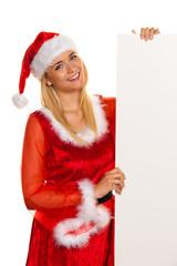 Weihnachtsmann zu Weihnachten mit Tafel für Wünsche