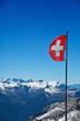 Flagge der Schweiz vor Bergen der Alpen