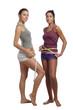 Two women measure waist belly by metre-stick