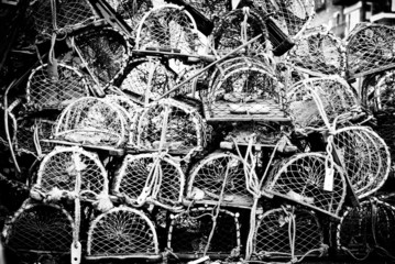 Collection of stacked fishing traps