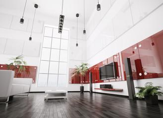 Wohnzimmer mit lcd und lautsprecher interior 3d render