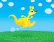 Funny yellow kangaroo jumps in a field