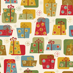Christmas and New Year seamless pattern with gifts