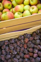 Äpfel und Zwetschgen vom Bodensee, Obst, Bauernmarkt