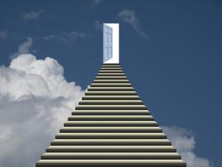 Symbolic representation of stairway and open door into heaven
