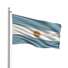 Flag of Argentina waving in the wind over white background