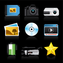 photo video premium icons on black