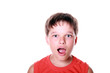 Little boy expressing schock isolated on white background