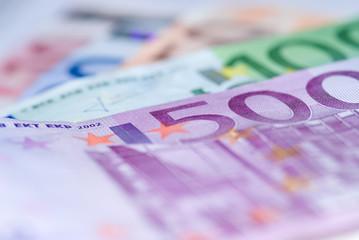 Close up of euro bills