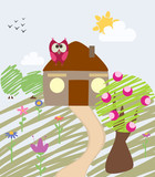childlike illustration of house and owl poster
