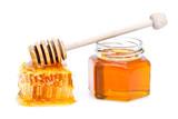 Rayon de miel et miel en pot