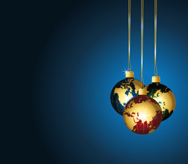 Beautiful world christmas ornaments on blue background