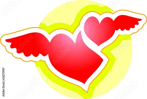 Heart with wings in a yellow background