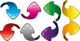 Set of colorful glitter arrows, vector illustration
