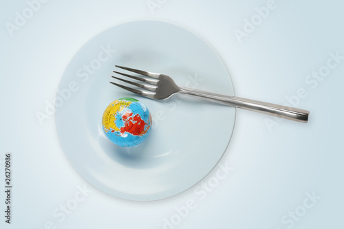 World in a plate with fork