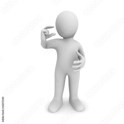 3d man holds a very small item in a hand.