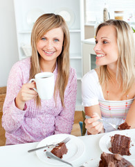 Joyful female friends eating a chocolate cake and drinking in th