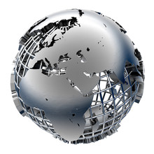 Stylizowane metalu model Ziemi