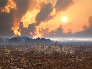 Derelict City on Alien Planet