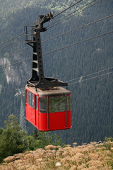 Cable car high in the mountains