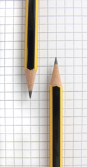 Two yellow and black pencils laying on sheet