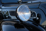 Headlight of Black 1952 Hot Rod