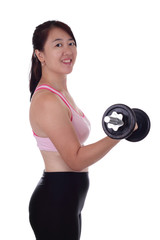 An Asian woman lifting a dumbbell