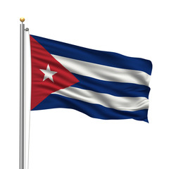 Flag of Cuba waving in the wind in front of white background