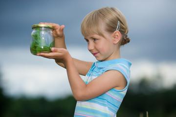 girl with jar
