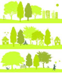 trois paysages verts
