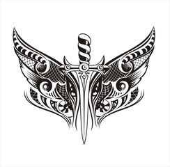 Wings with sword.Tattoo design