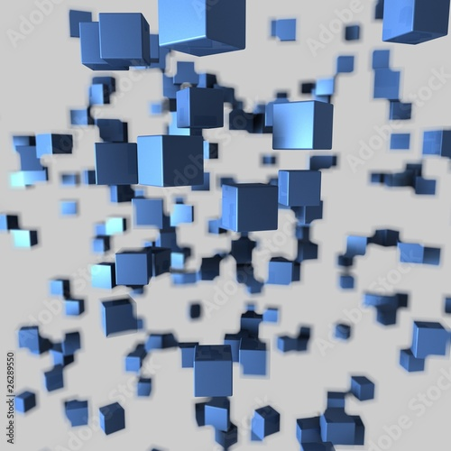 Plakat cube 2 depth blue