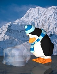 sad penguim on ice
