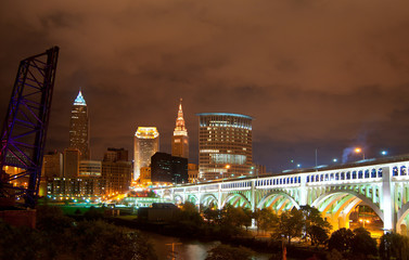 Downtown Cleveland Ohio lit up at night